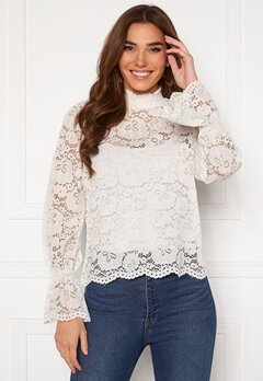 Pieces Raita LS Lace Top Cloud Dancer Bubbleroom.dk