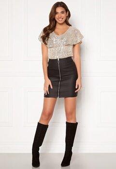 Pieces Roxy HW Zip Coated Skirt Black Bubbleroom.dk