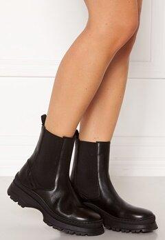 Pieces Selione Leather Boot Black Bubbleroom.dk