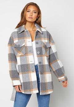 Pieces Selma Overshirt Jacket Whitecap Gray Checks Bubbleroom.dk