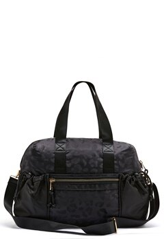 Pieces Siluna Nylon Weekend Bag Black AOP Leo Bubbleroom.dk