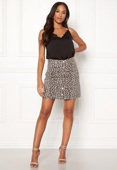 Pieces Sky HW Button Skirt Peyote/Leopard Bubbleroom.dk