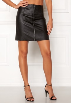 Pieces Tecia Faux Leather Skirt Black Bubbleroom.dk
