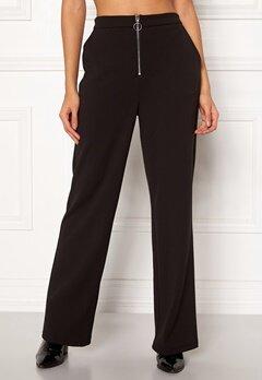 Pieces Vicca HW Zip Pants Black Bubbleroom.dk