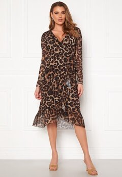 Pieces Viola LS Midi Wrap Dress Black AOP Leo Bubbleroom.dk