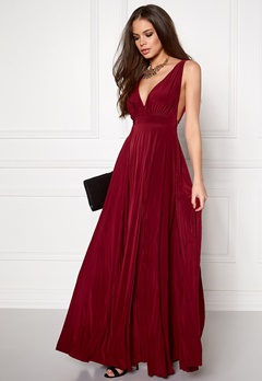 Goddiva Pleated Oscar Dress Wine Bubbleroom.dk