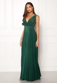 Goddiva Pleated Oscar Maxi Dress Green Bubbleroom.dk