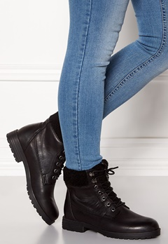 New Look PU Shearling Lace up Boot Black Bubbleroom.dk