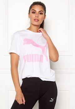 PUMA Classics Logo Tee 002 Wht/Pink Bubbleroom.dk