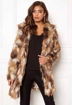 QED London Animal Faux Fur Coat Brown Bubbleroom.dk