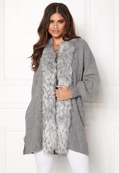 QED London Faux Fur Long Cardigan Grey Bubbleroom.dk