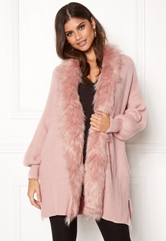 QED London Faux Fur Long Cardigan Pink Bubbleroom.dk
