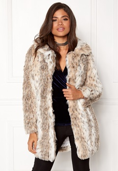 QED London Leopard Faux Fur Coat Snow Leopard Bubbleroom.dk