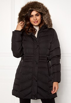 QED London Quilted Long Puffer Coat Black Bubbleroom.dk
