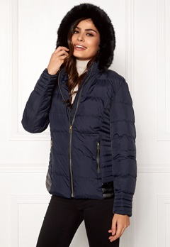 QED London Quilted Short Puffer Coat Navy Bubbleroom.dk
