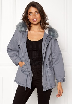 QED London Relaxed Parka Fur Hood Grey Bubbleroom.dk