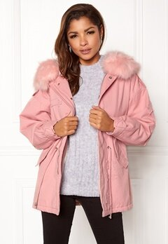QED London Relaxed Parka Fur Hood Pink Bubbleroom.dk