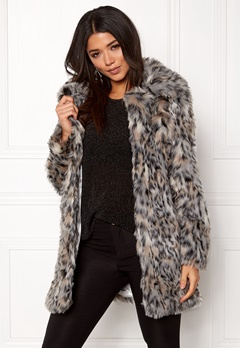 QED London Wild Cat Faux Fur Coat Wild Cat Bubbleroom.dk