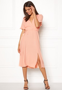 New Look Ram Tie Wrap Maxi Dress Shell Pink Bubbleroom.dk