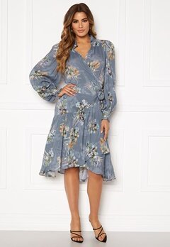 Ravn Cosima Wrap Dress Blue Flower Bubbleroom.dk