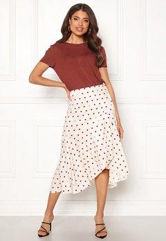 DAGMAR Ruby Skirt Offwhite + Burgundy Bubbleroom.dk