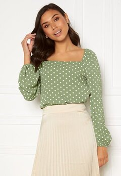 Rut & Circle Cleo Blouse Tea Green Dot Bubbleroom.dk