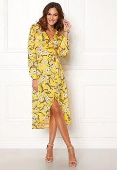 Rut & Circle Flower LS Wrap Dress Yellow Bubbleroom.dk
