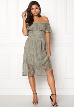 Rut & Circle Li Off Shoulder Dress Green Stone Bubbleroom.dk