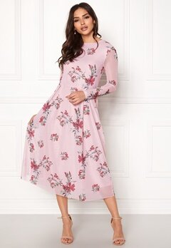 Rut & Circle Long Sleeve Mesh Dress Pink Bubbleroom.dk