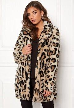 Rut & Circle Nova Faux Fur Leo Jacket Leopard Bubbleroom.dk