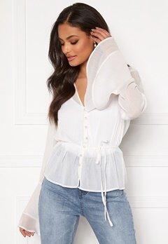 Sandra Willer X Bubbleroom Bell sleeve blouse White Bubbleroom.dk
