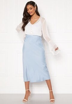 Sandra Willer X Bubbleroom Bias cut skirt Light blue Bubbleroom.dk