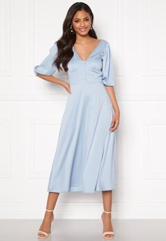 Sandra Willer X Bubbleroom Puff sleeve dress Light blue Bubbleroom.dk
