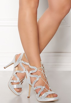 SARGOSSA Chic Pattern Leather Heels Silver Bubbleroom.dk