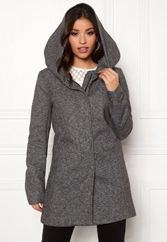 ONLY Sedona Light Coat Dark Grey Melange Bubbleroom.dk