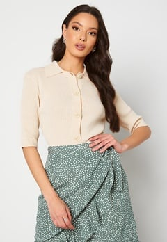 SELECTED FEMME Ally SS Knit Poloneck Sandshell Bubbleroom.dk