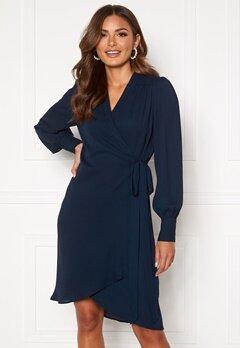 SELECTED FEMME Alva LS Wrap dress Dark Sapphire Bubbleroom.dk