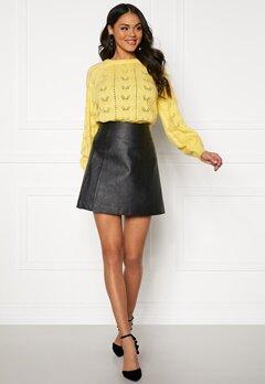 SELECTED FEMME Bobi MW Leather Skirt Black Bubbleroom.dk