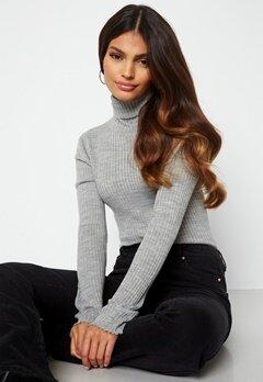 SELECTED FEMME Costina LS knit rib rollneck Light Grey Melange bubbleroom.dk