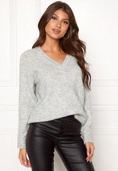 SELECTED FEMME Lanna LS Knit V-neck Light Grey Melange Bubbleroom.dk