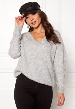 SELECTED FEMME Livana LS Knit V-neck Light Grey Melange Bubbleroom.dk