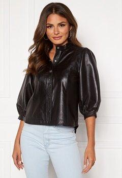 SELECTED FEMME Milla Leather Shirt Black Bubbleroom.dk