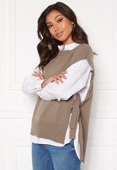 SELECTED FEMME Tinka Tie Knit Vest Fossil Bubbleroom.dk