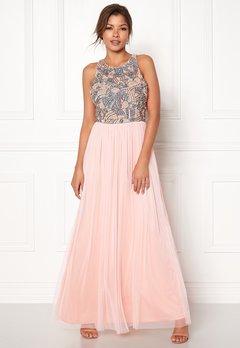 AngelEye Sequin Bodice Maxi Dress Pink/Grey Bubbleroom.dk
