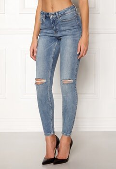 VERO MODA Seven MR Slim Jeans Medium Blue Denim Bubbleroom.dk
