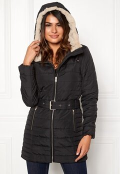 ONLY Shelly Hooded Coat Black Bubbleroom.dk