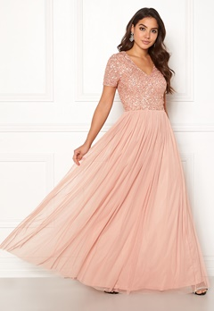 AngelEye Short Sleeve Sequin Dress Cameo Rose Bubbleroom.dk