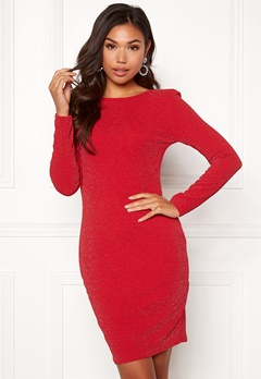 Sisters Point Catrin Lurex Dress 501 Red/Silver Bubbleroom.dk