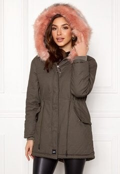 Sixth June Parkas Faux Fur Jacket Grey/Stone Pink Bubbleroom.dk