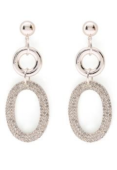 SNÖ of Sweden Doreen Pendant Earring Silver/Clear Bubbleroom.dk
